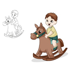 Boy on horse vector image vector image