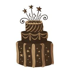 Hand drawn chocolate celebration cake vector