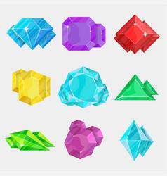 jewelry colorful gemstone icon set vector image