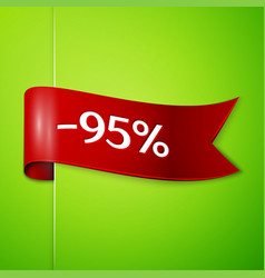 Red ribbon with text ninety five percent discount vector