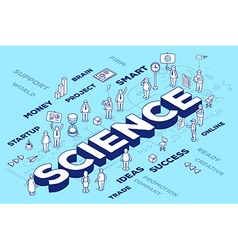 three dimensional word science with peopl vector image