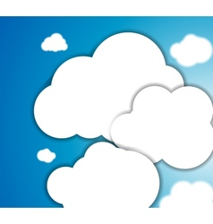 White clouds in the blue clear sky background vector image