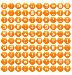 100 cleaning icons set orange vector