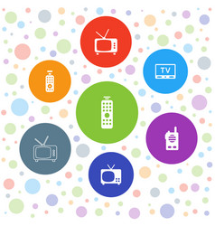 7 channel icons vector image