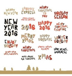 A large collection christmas greeting phrases vector