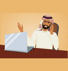 arab business man in traditional clothes working vector image