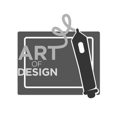 Art of design courses monochrome logotype isolated vector