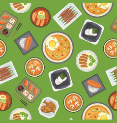 asian food and chinese japanese cuisine cartoon vector image