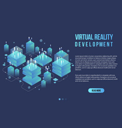 Augmented reality concept isometric banner flat vector