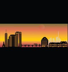 basel night city skyline vector image