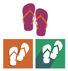 Beach slippers icon set vector image