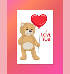 bear on festive postcard with i love you sign vector image
