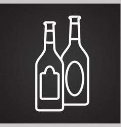 beer line icon on black background for graphic and vector image