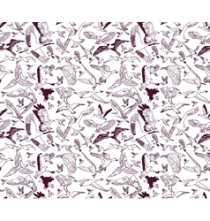 Birds seamless pattern wallpaper ink monochrome vector image