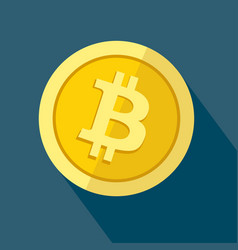 bitcoin icon as golden coin vector image