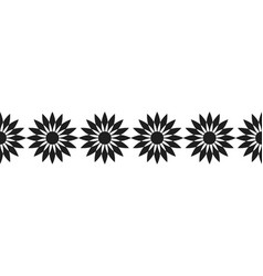 black silhouette of flowers decorative border and vector image