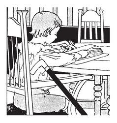 Boy reading interested vintage engraving vector