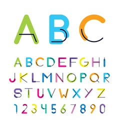 Bright color thick letters and numbers with the vector