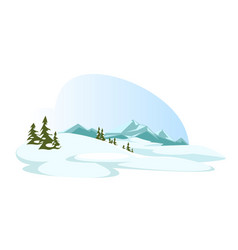 Cartoon highlands and forest in winter nature vector