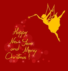 Christmas and New Year card with fairy vector image