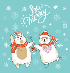 christmas card congratulations with cute polar vector image