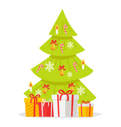 christmas tree with gift boxes isolated on white vector image vector image
