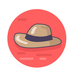 circle icon of sun hat against red background vector image