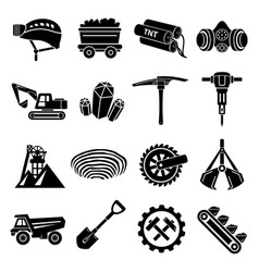 Coal mine icons set simple style vector