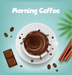 Coffee advertising poster with mug vector