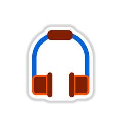 Color label design earphones of music headphones vector