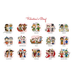 couple in love national costume valentine day in vector image