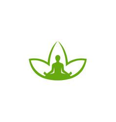 creative abstract body zen yoga lotus leaf logo vector image