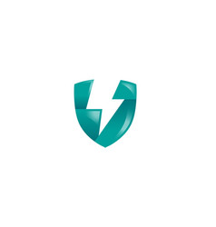 creative blue shield thunder logo vector image