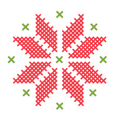 cross-stitch on white fabric flat isolated vector image