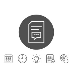 document with comments line icon file sign vector image