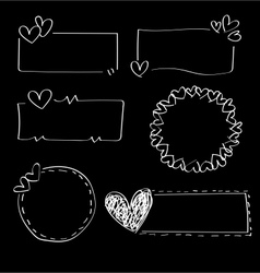 Doodle heart frames vector image