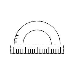 Dotted shape measuring ruler school tool design vector