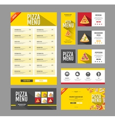 Flat style pizza menu design Document template vector image