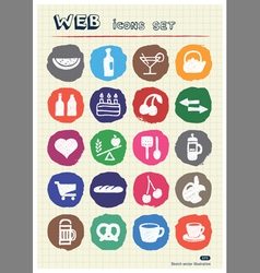 Food icons set drawn by chalk vector image