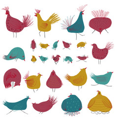 funny collection with colorful chicken birds vector image