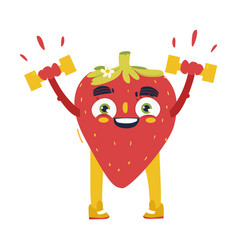Funny strawberry working out lifting dumbbells vector