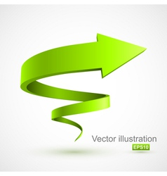 Green spiral arrow 3d vector