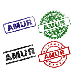 Grunge textured amur seal stamps vector