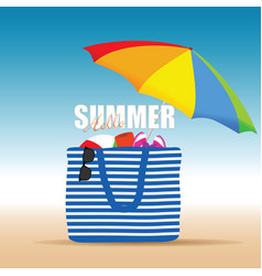Hallo summer on color bag with beach accesoir vector