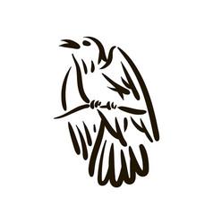 Hand drawn bird line silhouette hand drawn vector