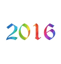 Happy new year 2016 colorful flat design vector image