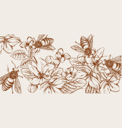 honey bees and flowers line art card vector image