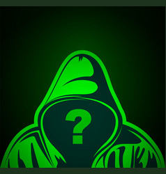 Hooded man with question mark on place face vector