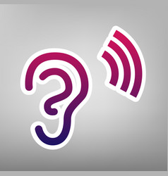 human anatomy ear sign with soundwave vector image