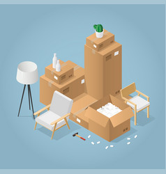 isometric boxes and chair illustration vector image